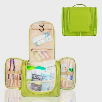 TravelGear24 Travel Check Bag กระเป๋าจัดระเบียบ กระเป๋าจัดเก็บอุปกรณ์ในห้องน้ำ กระเป๋าเครื่องสำอาง แบบมีด้านข้าง Travel Toiletry Bag Cosmetic Makeup Storage (Green/เขียว)