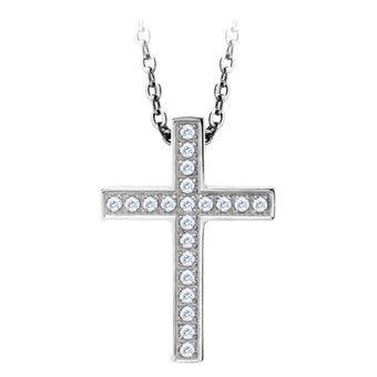 555jewelry จี้ไม้กางเขนมีเบลในตัว ประดับด้วย CZ สีขาว รุ่น MNC-P515-A สี Steel