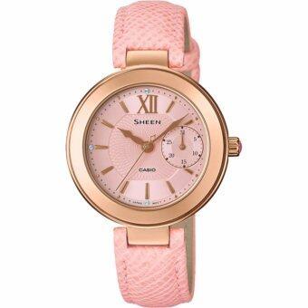 Casio Sheen นาฬิกาข้อมือสตรี เรือนสแตนเลส สายหนัง รุ่น SHE-3051PGL-4AUDR - โรสโกลด์
