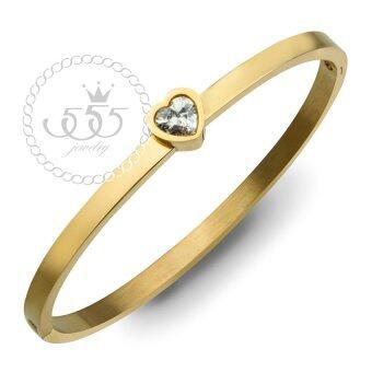 555jewelry กำไลข้อมือ ประดับ CZ รูปหัวใจ สี ทอง รุ่น MNC-BG258-B - กำไลข้อมือดีไซน์เรียบ สแตนเลสสตีล