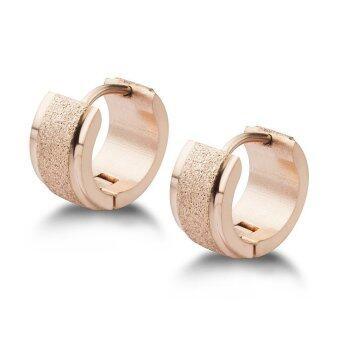 555jewelry ต่างหู สแตนเลสสตีล - ต่างหูห่วงดีไซน์สวย (สี - พิ้งโกลด์) (ER24) รุ่น MNC-ER521-C
