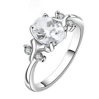 Bluelans หญิงสูงศักดิ์ 925 สเตอร์ลิงเงินกาไหล่ลูกบาศก์ Zirconia แหวนเพชรขาว
