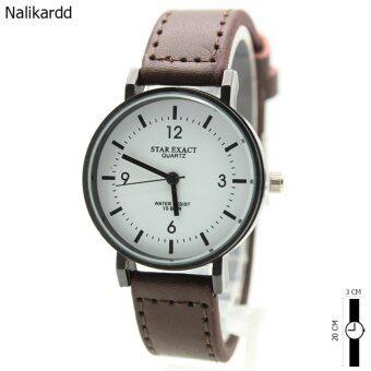 StarExact นาฬิกาข้อมือ ชาย-หญิง สายหนัง ทรงกลม หน้าปัดเลข/ขีด ระบบเข็ม