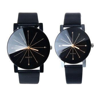 1 คู่ทั้งชาย และหญิงหมุนนาฬิกาข้อมือนาฬิกาควอทซ์หนังสีดำ