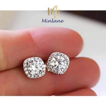 Minlane Jewelry New Bright Round Earrings alloy stud Exquisite Crystal Mosaic ต่างหูเพชร คริสตัล เม็ดกลม MJ 009