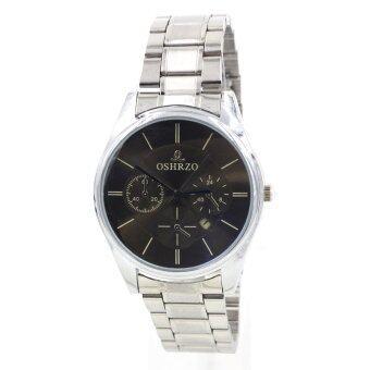 OSHRZO Date Quartz นาฬิกาข้อมือผู้ชาย ระบบวันที่ รุ่น GP9125 (Silver/Blue)