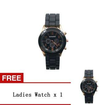 Bluelans คู่รักชายหญิงซิลิโคนเจลเจลผลึกคล้ายคลึงนาฬิกาข้อมือสีดำ [ซื้อ 1 ได้ 1 ฟรี]