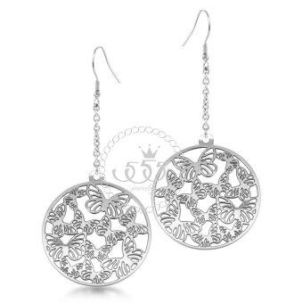 555jewelry ต่างหูแบบห้อยรูปวงกลมฉลุ รุ่น MNC-ER021-A - สีสตีลเงิน