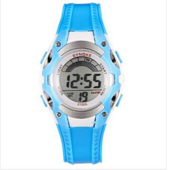 Synoke 61606 นาฬิกานาฬิกา led แสงเย็นนักรัดนาฬิกาข้อมือกันน้ำซิลิโคนพวกปูสีน้ำเงิน