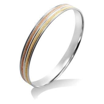 555jewelry กำไลข้อมือแบบวงกลม รุ่น MNC-BG169-MT - สี Yellow Gold/Pink Gold/Steel