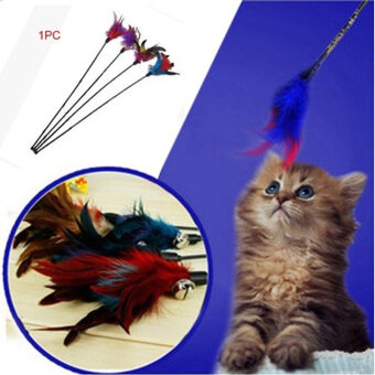 Harga Fun Created Toy Cat Feather Bell Wand Teaser Rod Bead Interactive Play