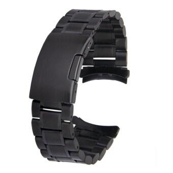 22มม.นาฬิกาสร้อยข้อมือโซ่สเตนเลสแข็งแรงปลายโค้งสายรัดที่มี 2ชิ้นนาฬิกาสปริงเหล็กหมุด (สีดำ)