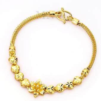 MONO Jewelry สร้อยข้อมือจากเศษทองแท้ ลายสี่เสาประดับดอกไม้พ่นทราย รุ่นน้ำหนัก ๒ สลึง
