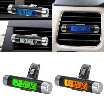 แต่งรถแบบพกพา 2ใน1 รถอัตโนมัติจอแสดงผลแอลซีดีคลิป...บนนาฬิกาดิจิตอลอุณหภูมิเครื่องวัดอุณหภูมิเวลาแบล็คไลท์ YA398-SZ