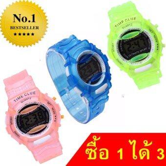 นาฬิกาข้อมือดิจิตอลโปร่งแสงสดใสของขวัญสำหรับเด็ก คละสี (แพ็ค3)