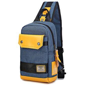 Nifty Well กระเป๋าสะพายไหล่ Shoulder Bag กระเป๋าคาดอก กระเป๋าใส่พาสปอร์ต กระเป๋าโทรศัพท์ + แท็บเล็ต กระเป๋าคาดไหล่ผ้ายืน ( สีน้าเงิน )
