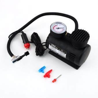 ปั้มลมไฟฟ้า สำหรับรถยนต์ ปั๊มลมติดรถยนต์ ปั๊มเติมลมยาง Air pump 300PSI 12V (สีดำ)