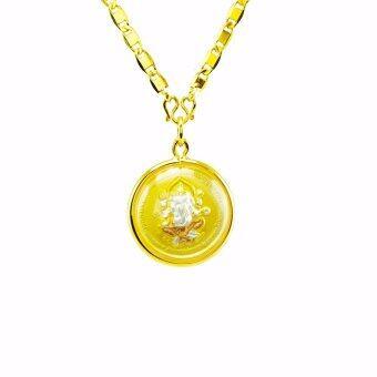 Tfine สร้อยแปดทับแบน18นิ้วพร้อมจี้เหรียญ3กษัตริย์พระพิฒเนศวร์กับปู่ฤาษีชุบทอง