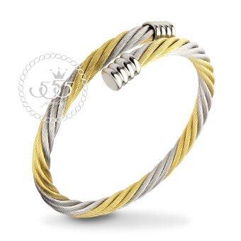 555jewelry กำไลข้อมือลาย Twisted rope สี ทองสลับสตีลเงิน รุ่น MNC-BG251-B1 - กำไลข้อมือเรียบ ดีไซน์ไขว้ สแตนเลสสตีล