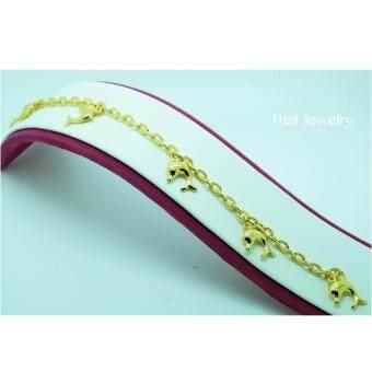Thai Jewelry สร้อยข้อมือทอง ลายโซ่ห้อยปลาโลมา งานทองชุบไมครอน ชุบเศษทองคำแท้ 96.5% น้ำหนัก 2 สลึง ยาว 6.5 นิ้ว