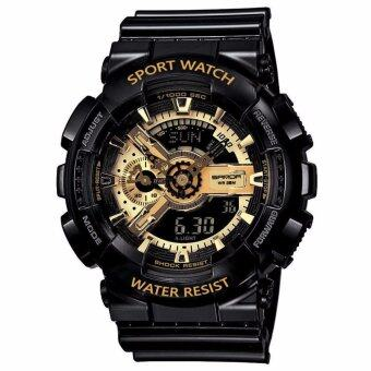S SPORT นาฬิกาข้อมือ ชายและหญิง (แถมกล่องสวยหรู) กันน้ำได้ดี - GA110GB-1 (Black / Gold) New