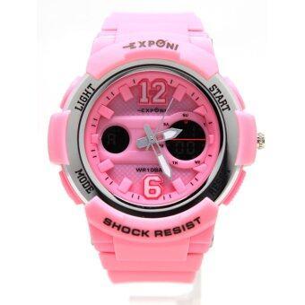 นาฬิกาขัอมือวัยรุ่น ชาย,หญิง ระบบ Quartz Analog,Digital (2ระบบ) ตัวเรือน,สายยางซิลิโคนสี รุ่น EX-