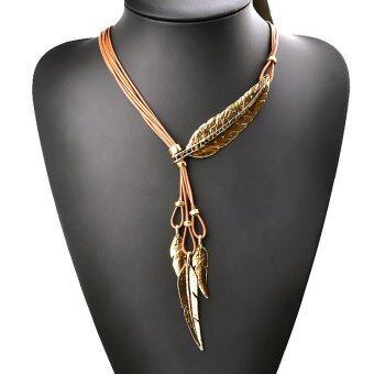 แฟชั่นสไตล์โบฮีเมียนบรอนซ์ขนสร้อยคอเชือกโซ่รูปแบบจี้ทองเงิน #4