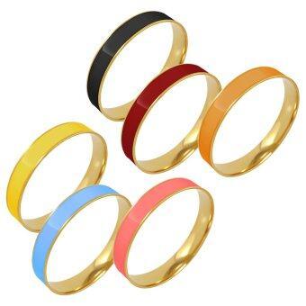 555jewelry เครื่องประดับ สแตนเลสสตีล- กำไลแฟชั่น ขายส่ง6ชิ้น สี ดำ,แดง,ฟ้า,ส้ม,เหลือง,ชมพู รุ่น SIXSET010