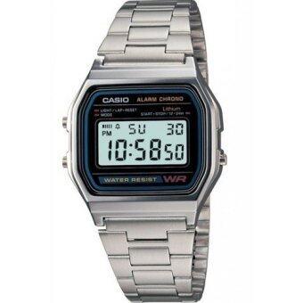 Casio Standard นาฬิกาข้อมือผู้ชาย สีเงิน สายสเตนเลส รุ่น A158WA-1DF