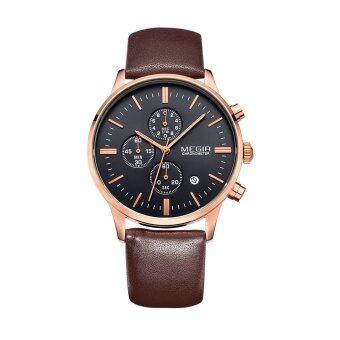 MEGIR 3ATM นาฬิกาข้อมือสายหนังกันน้ำเชอรี่ Noctilucent ผลึกคนดูกับปฏิทิน