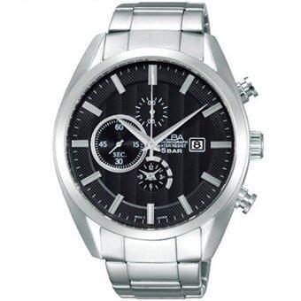 ALBA Chronograph นาฬิกาข้อมือผู้ชาย สีดำ/เงิน สายสแตนเลส รุ่น AF8T49X1