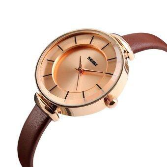 2559 คุณภาพสูง SKMEI 1184 ผู้หญิง ' อุลจนนาฬิกาข้อมือธรรมดา ๆ โกลเด้นเชลล์ (สีน้ำตาล)