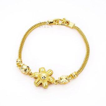 MONO Jewelry สร้อยข้อมือจากเศษทองแท้ลายสี่เสาคั่นดอกไม้ รุ่นน้ำหนัก ๒ สลึง