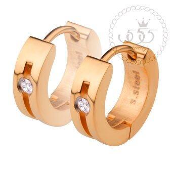 555jewelry เครื่องประดับผู้หญิง ต่างหูห่วง สแตนเลสสตีล ดีไซน์เรียบหรู ประดับ CZ รุ่น MNC-ER500-C (สีพิ้งโกลด์)