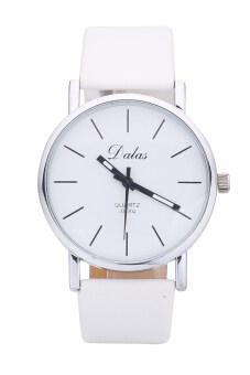 Dalas JD302 วินเทจแฟชั่นการออกแบบหญิง ๆ นาฬิกาข้อมือสายหนังผลึก (ขาว)