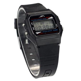 พวกเด็ก ๆ เดินแบบกันน้ำยางกีฬาแฟชั่นนาฬิกาข้อมือผลึกสีดำ