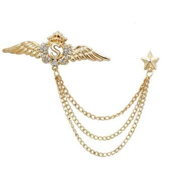ปีกปกปักประดับดาราชายสูทเสื้อเชิ้ตปกเสื้อเข็มกลัดโซ่ Corsage ทอง