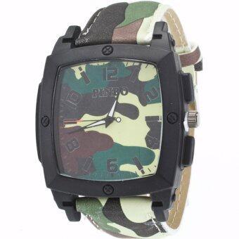 MEGA Quartz Waterproof Military Leather Watchband Sport Casual Wristwatch หรูหรานาฬิกาข้อมือ สายหนัง กันน้ำ รุ่น MG0019 (Green)