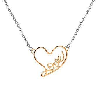 555jewelry จี้ พร้อมสร้อย สแตนเลสสตีล - จี้ ผู้หญิง ดีไซน์น่ารักฉลุคำว่า Love เป็นรูปหัวใจ (สี พิ้งโกลด์)