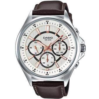 Casio Standard นาฬิกาข้อมือผู้ชาย สีเงิน สายหนัง รุ่น MTP-E303L-7AVDF