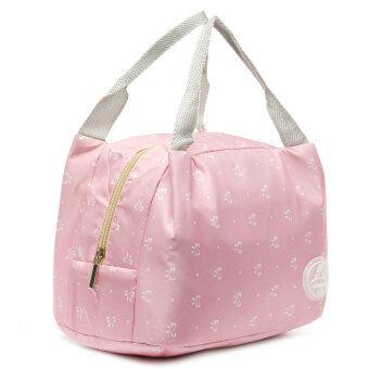 ฉนวนเก็บความร้อนกระเป๋าถือกล่องอาหารกลางวันกระเป๋าปิคนิคบรรจุถุง Bento สีชมพูผีเสื้อ