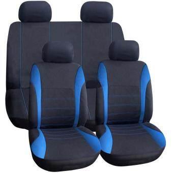 OH 9 pcs Full Seat Cover Set Car Seat Cover Low Front Back Set Black plus Blue Edge