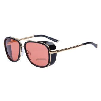 IRON MAN 3 ท่านมัทสึดะ TONY แว่นตากันแดดยี่ห้อแบรนด์เนม mirror สตีมพังก์ผู้ชายแว่นตาแว่นกันแดดวินเทจ B1 031 อะ 01 (สีชมพู)