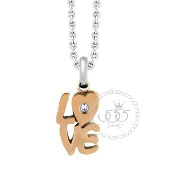 555jewelry จี้เล็กๆแสนน่ารัก ฉลุเป็นคำว่า LOVEประดับด้วย CZ รุ่น MNC-P088-C สี Pink Gold