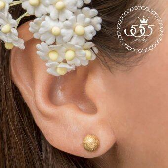 555jewelry ต่างหู ก้านเสียบทรงกลม รุ่น MNC-ER072-B (color Yellow Gold) (ER69)