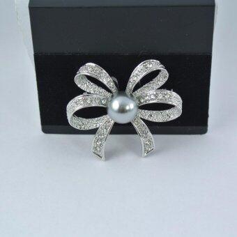 Pearl Jewelry เข็มกลัดไว้อาลัย โบว์มุกดำ พลอยแมกกาไซด์ G01
