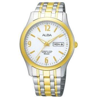 ALBA นาฬิกาข้อมือชาย-Silver/Gold หน้าปัดขาว - AXND52X1