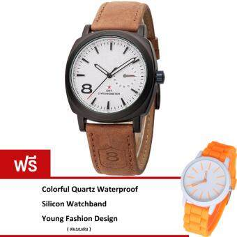 MEGA Casual Quartz Waterproof Frosted Watchband Sport Watch หรูหรานาฬิกาข้อมือ สายหนัง กันน้ำ รุ่น MG0012 (White)(ฟรี Colorful Quartz Waterproof Silicon Strap Young Fashion Watch)(White)