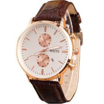 MEGA Quartz Waterproof Calendar Wristwatch หรูหรานาฬิกาข้อมือ สายหนัง กันน้ำ รุ่น MG0006 (Brown)