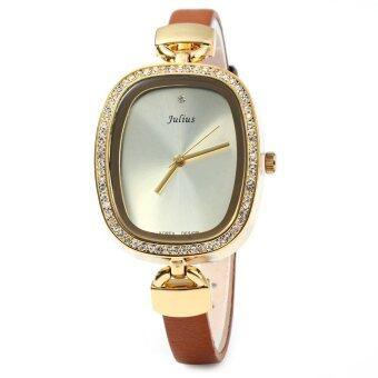 จูเลียสจ๋า-298 สายหนังนาฬิกาผู้หญิงผอมบางสง่างามผลึกเพชรพลอยเทียมโกลเด้น